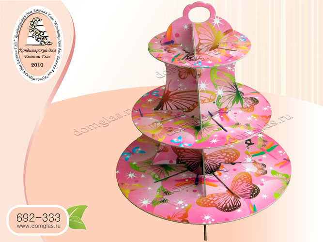 подставка трехъярусная под торт капкейки розовая