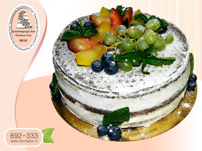 торт безмастичный голый фрукты ягоды