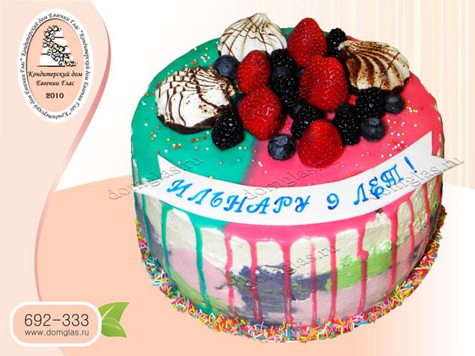торт глазурь разноцветный клубника черника