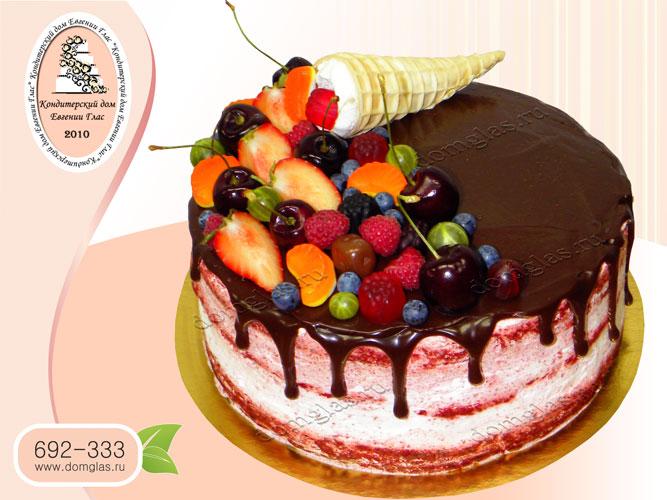 торт безмастичный глазурь ягоды вафельный рожок
