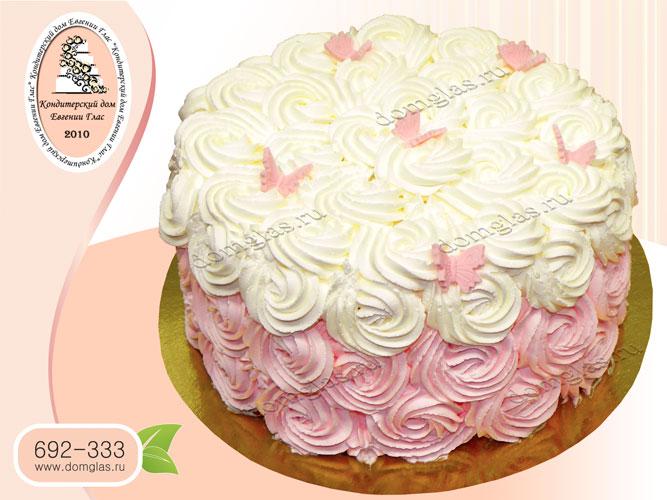 торт безмастичный крем бело-розовый