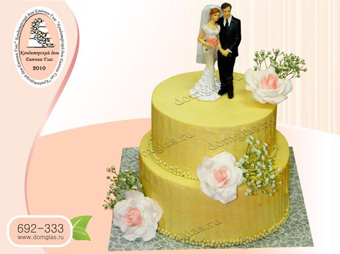 торт безмастичный кремовый свадебный два яруса