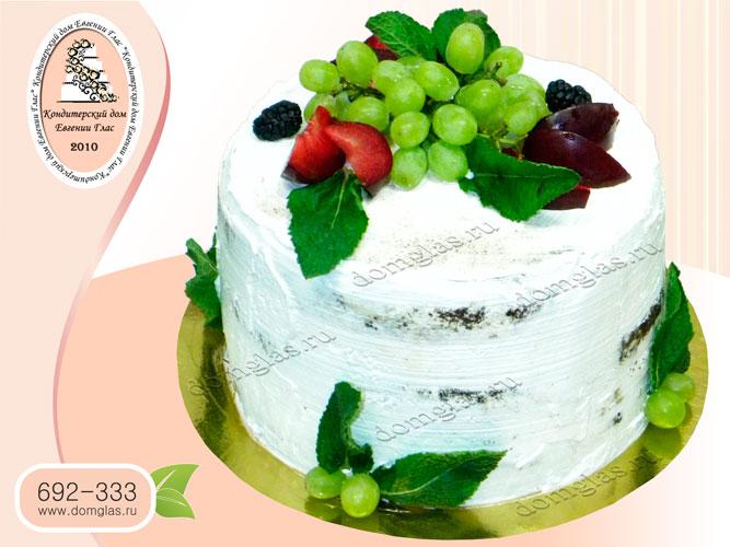 торт безмастичный кремовый с ягодами