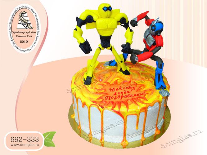 торт безмастичный трансформеры желтая глазурь