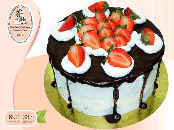 торт безмастичный глазурный с ягодами клубника