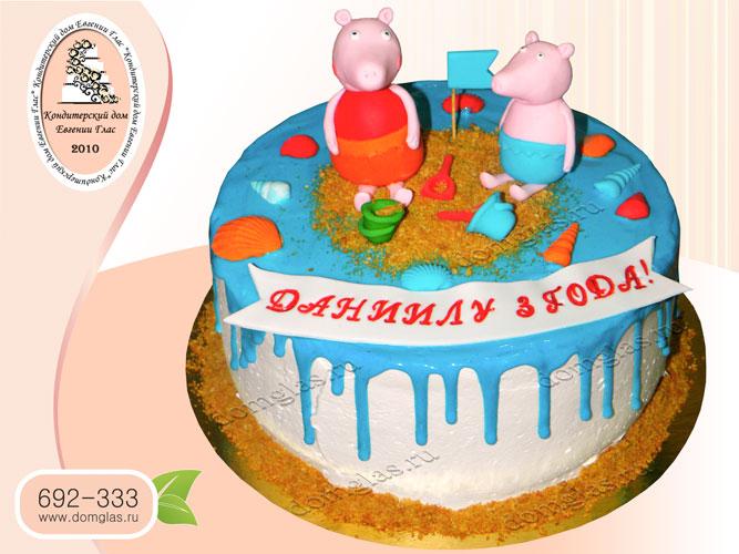 торт безмастичный глазурный свинка Пеппа