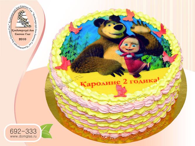 торт безмастичный кремовый Маша и Медведь фото