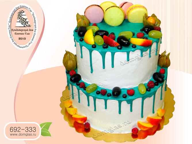 торт безмастичный глазурный двухъярусный макаронс