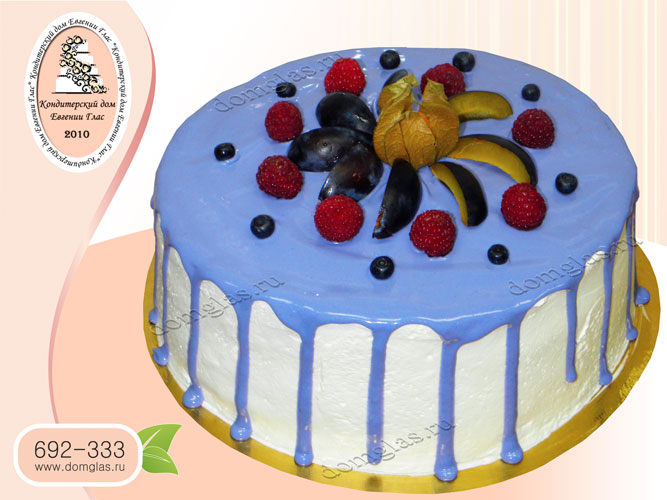 торт безмастичный цветная глазурь ягоды