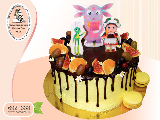торт безмастичный глазурный ягодный Лунтик