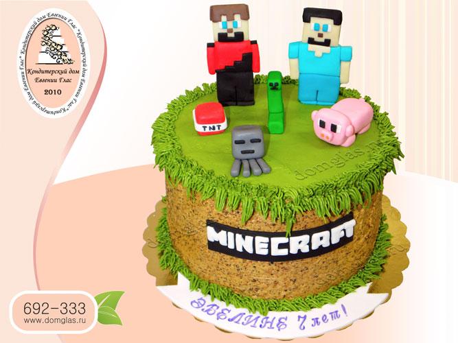 торт безмастичный кремовый майнкрафт