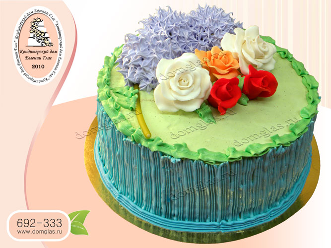торт безмастичный крем цветы