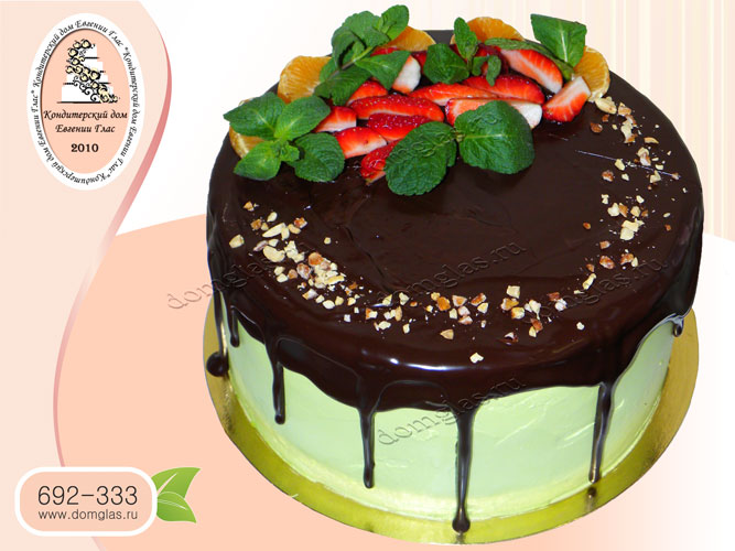 торт безмастичный клубника апельсин мяты шоколад