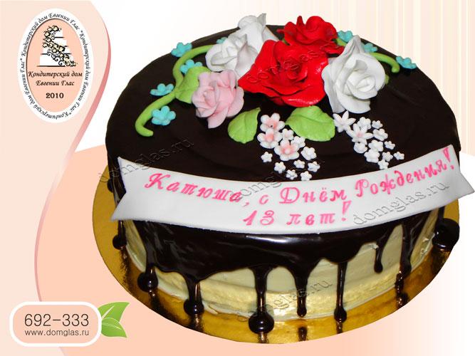 торт безмастичный цветы крем шоколад