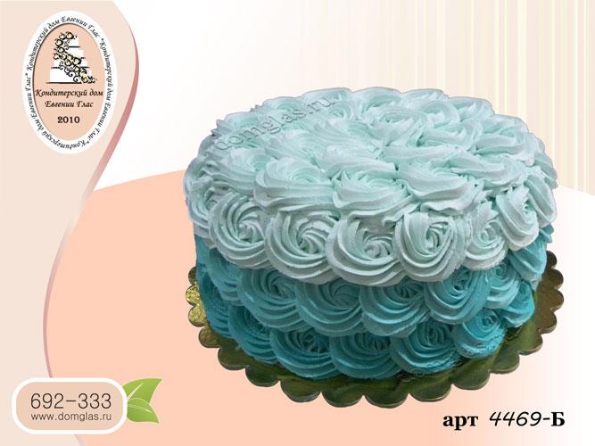 б кремовый торт голубые розы