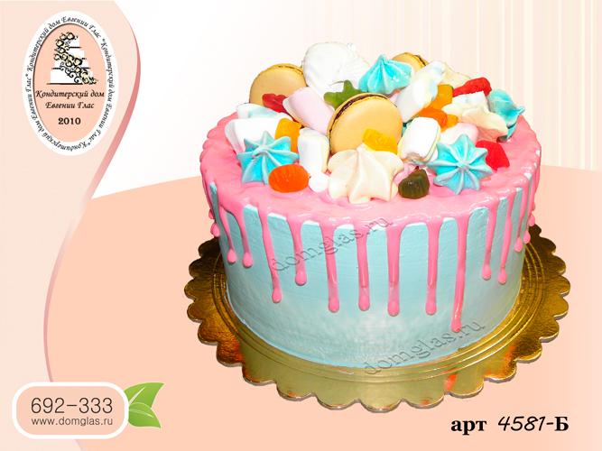 б торт голубой с розовой глазурью сладости