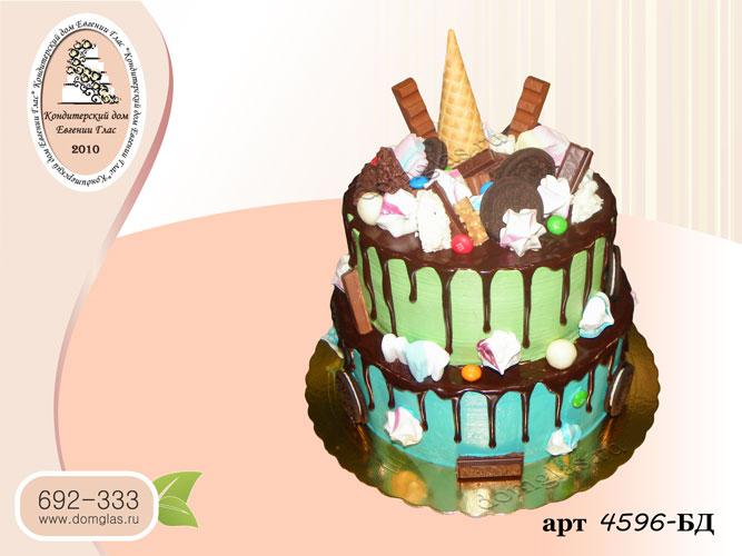 бд торт два яруса потеки сладости