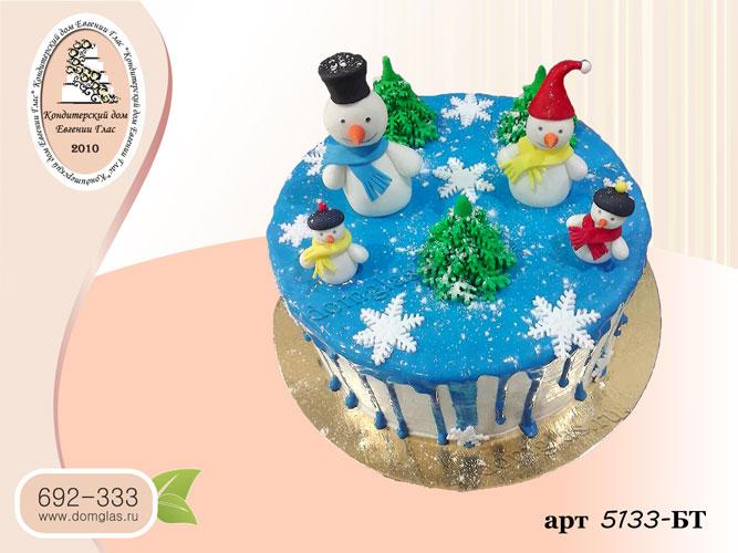 бт торт новогодний снеговики елки