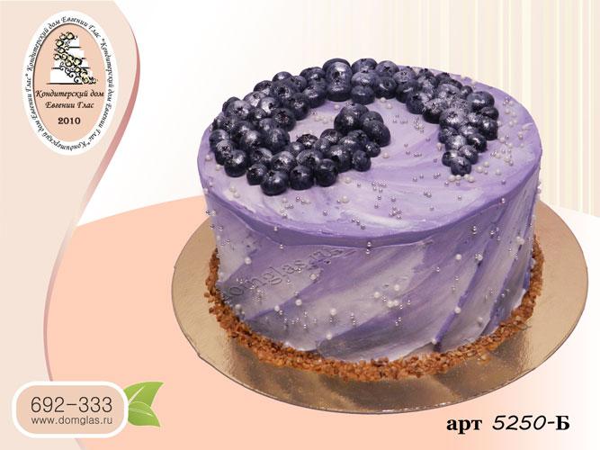 б торт сиреневый мазки голубика