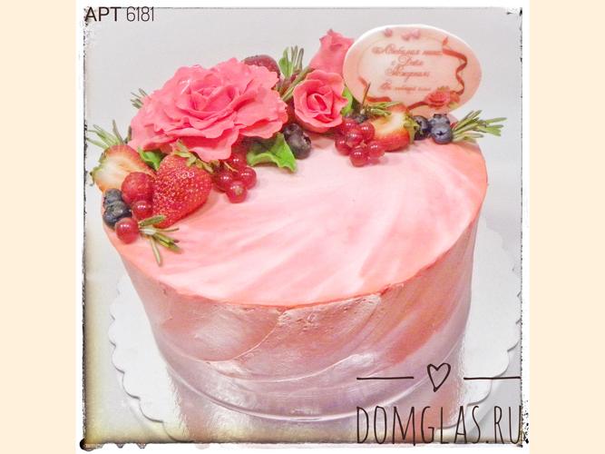 безмастичный розовый с живыми цветами и ягодами