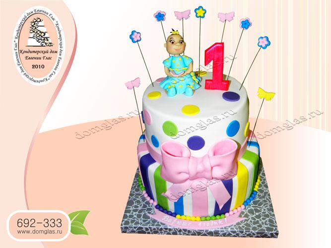 торт детский двухъярусный девочка горошек полоски