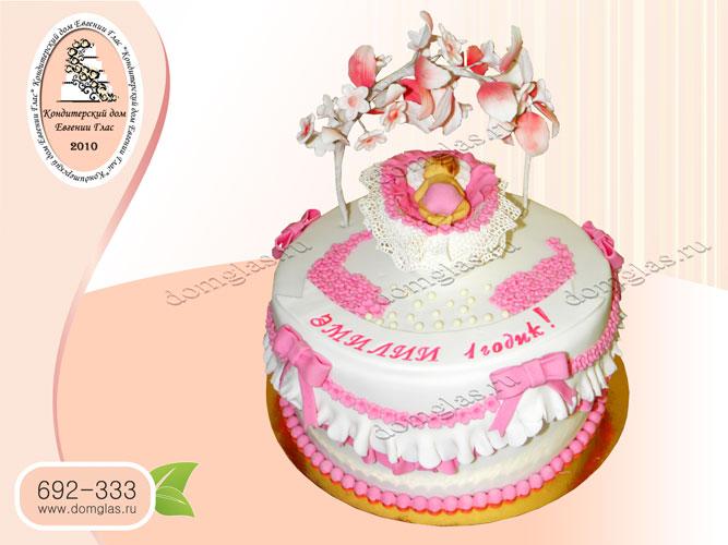 торт детский колыбель розовый лепестки
