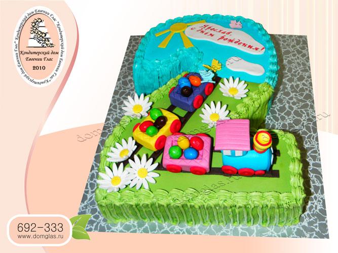 торт детский паровоз поезд форма двойка 2