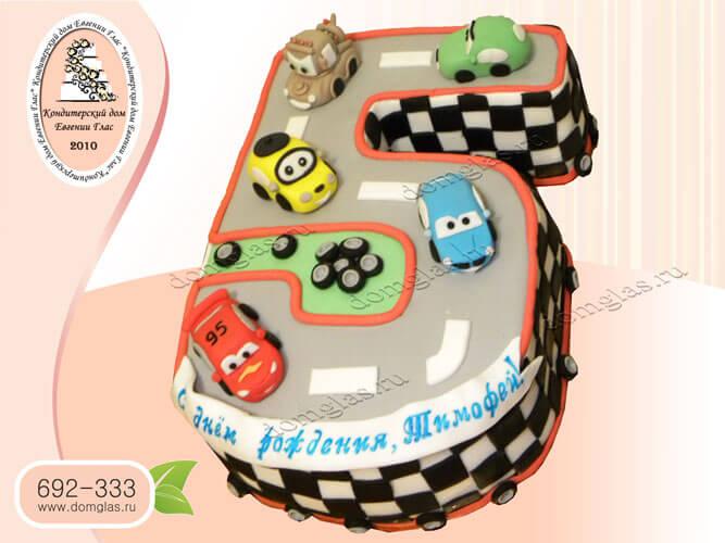 торт детский дорога машинки цифра 5