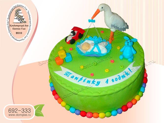 торт детский аист колыбель младенец машинка