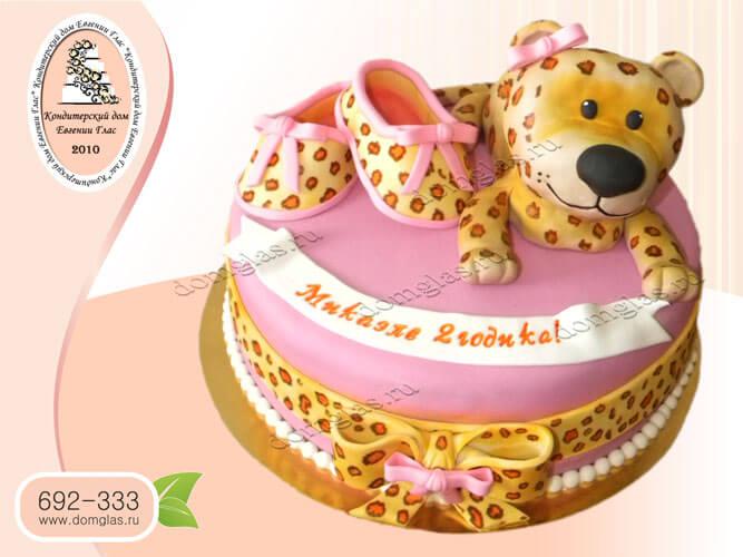 торт детский розовый леопард пинетки бантик