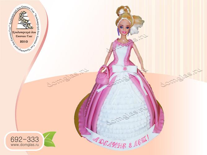 торт детский барби розовая белая