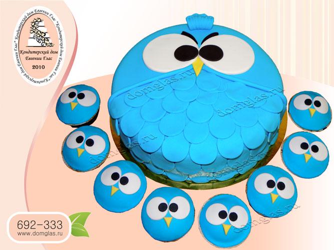 торт детский сова капкейки совята