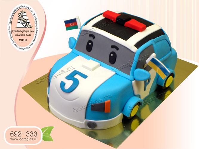 торт детский машинка поли робокар