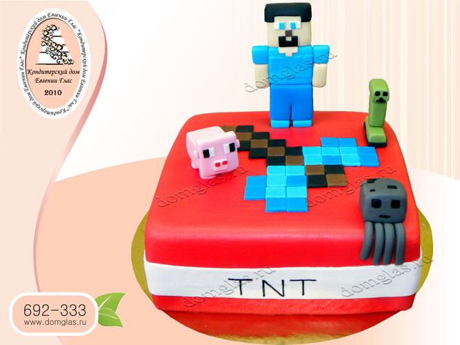 торт детский майн крафт человек свинья крипер