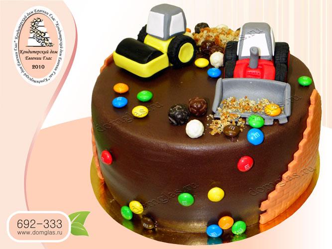 торт детский самосвал каток стройплощадка