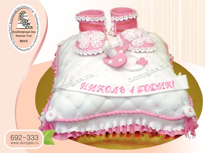 торт детский подушка тапочки розовый