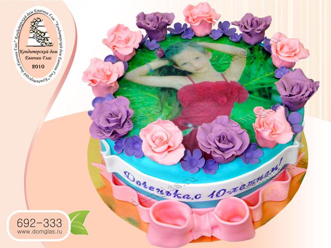 торт детский фотопринт дочка цветы