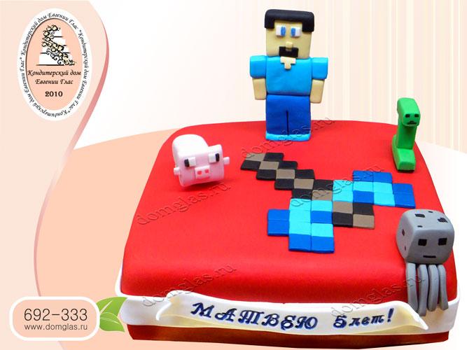 торт детский майнкрафт стив газ крипер свинья