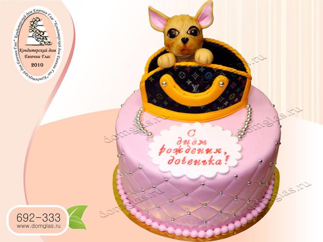 торт детский сумочка с собачкой