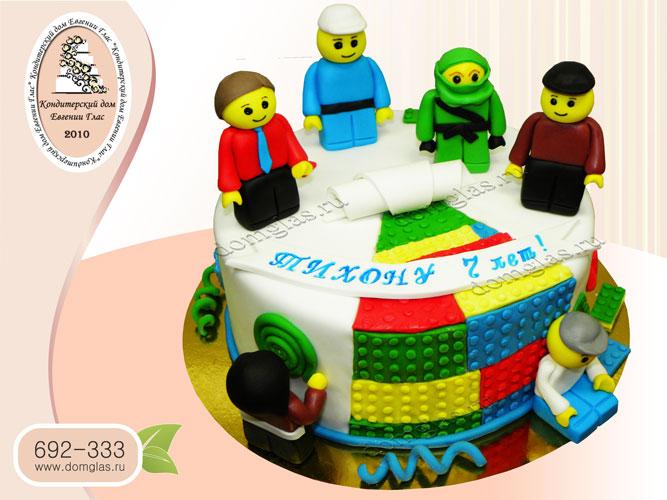 торт детский лего сити город героев