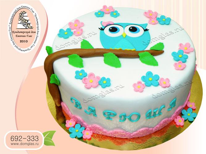 торт детский аппликация сова на ветке