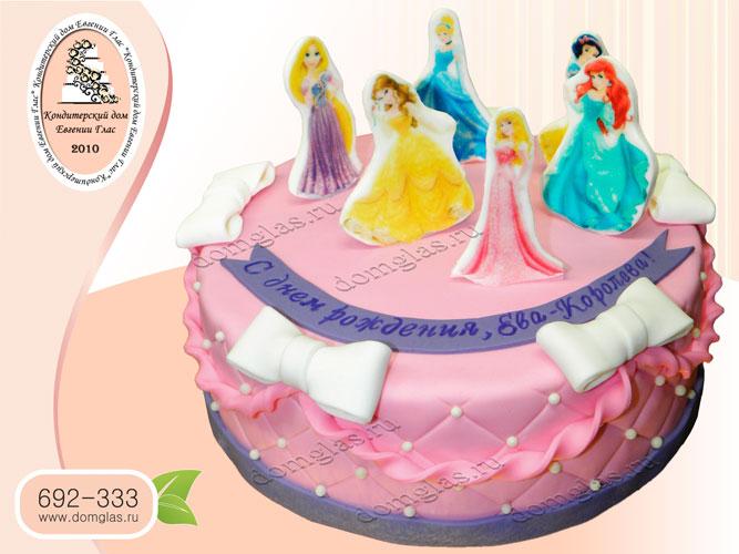 торт детский принцессы фотопечать на мастике