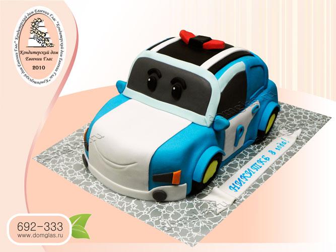 торт детский полицейская машина поли робокар