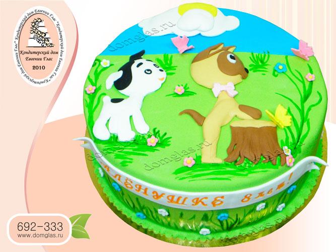 торт детский котенок гав аппликация