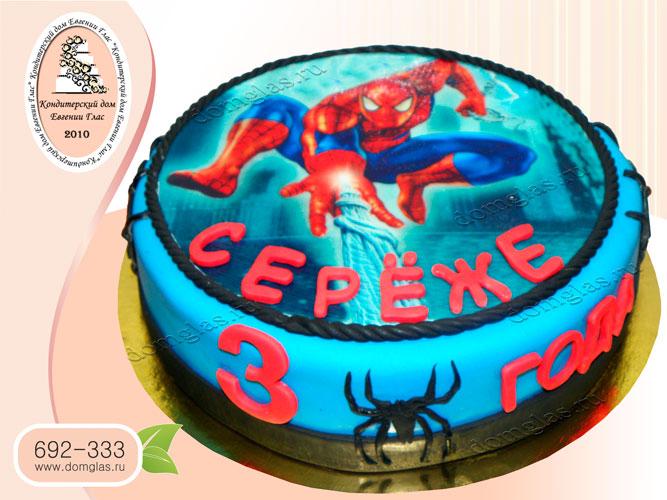 торт детский человек паук фотопечать
