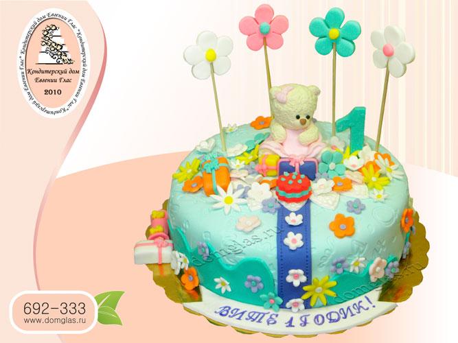 торт детский мишка цветочки