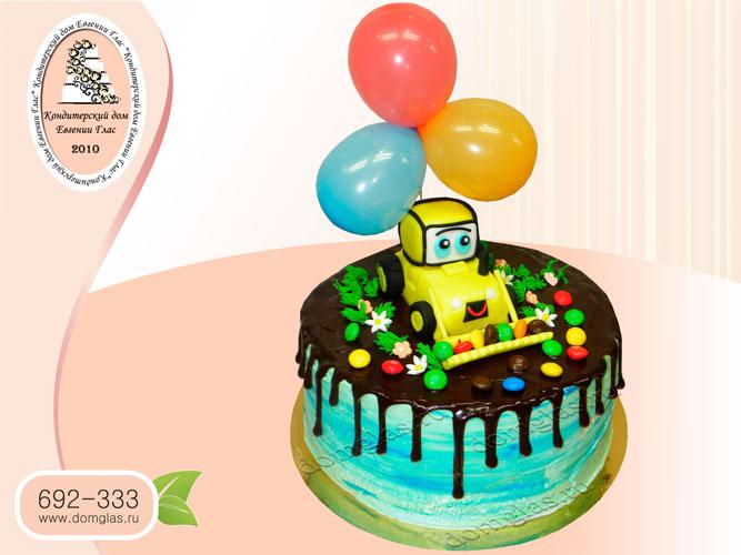 торт детский глазурный трактор с шариками