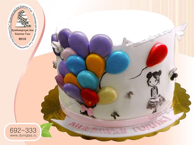 торт детский девочка и воздушные шарики мастика