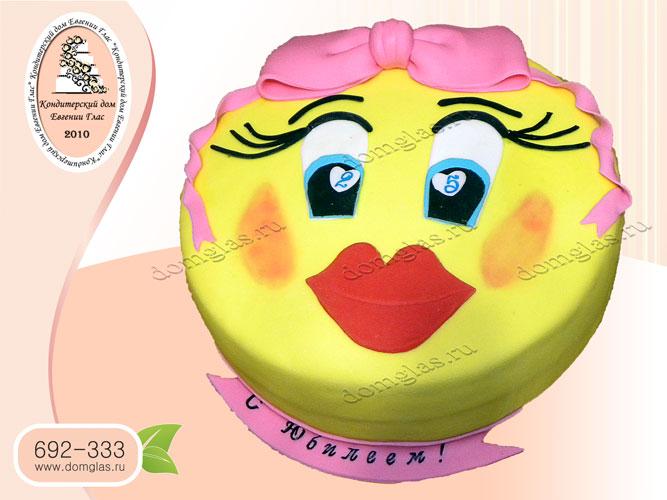 торт детский смайл девочка бант