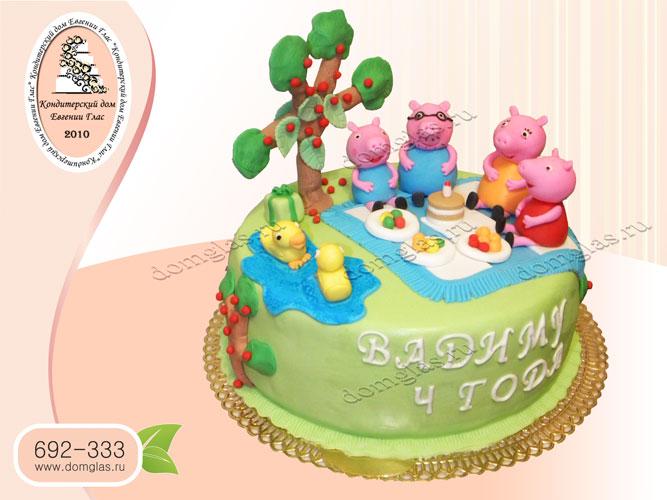 торт детский свинка пеппа семья пикник поляна